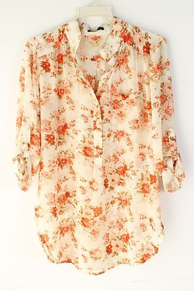 floral chiffon blouse <3