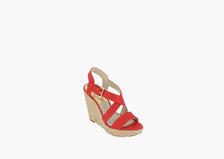 Sandales compensées rouges Michael Kors