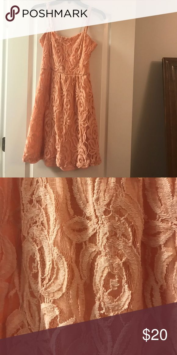 Coral lace dress Coral lace dress. Very pretty just too small for me now Dresses
