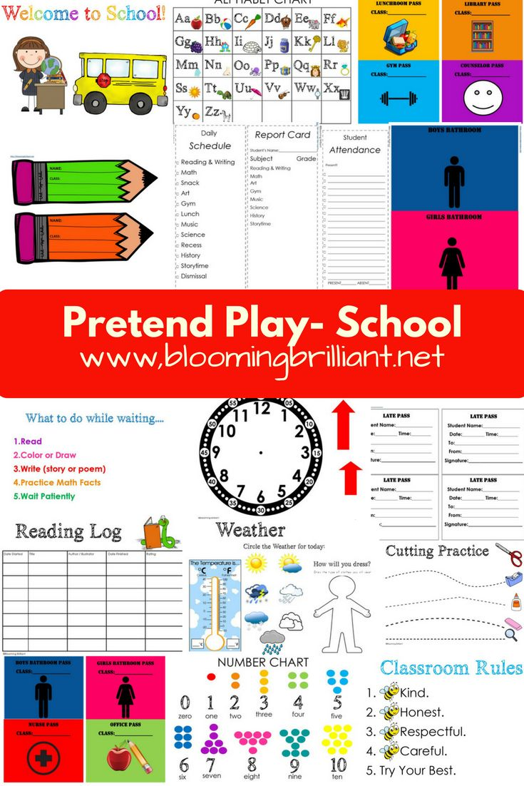 Pretend Play School My kids are obsessed with pretend play. Playing school is another thing they love to do. Whether it is with each other or a classroom full of dolls they are role playing and having fun while learning. I ended up creating this Pretend Play School Set for them to enhance their pretend …