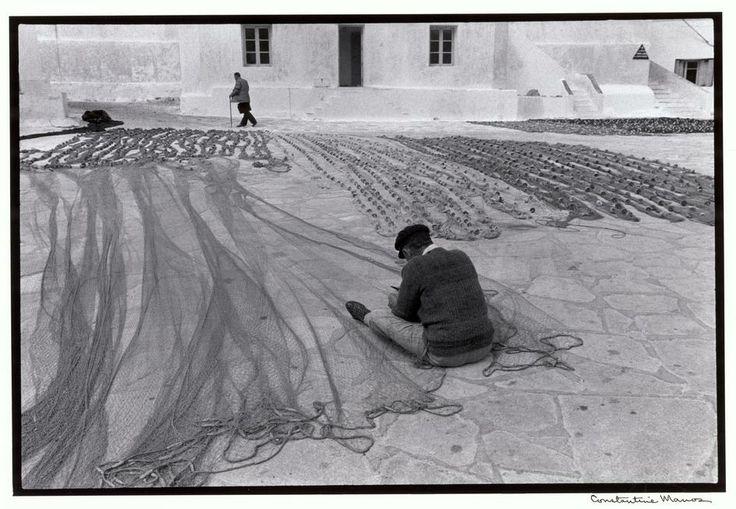 Constantine Manos - Mykonos. 1967. Repairing fishnets.