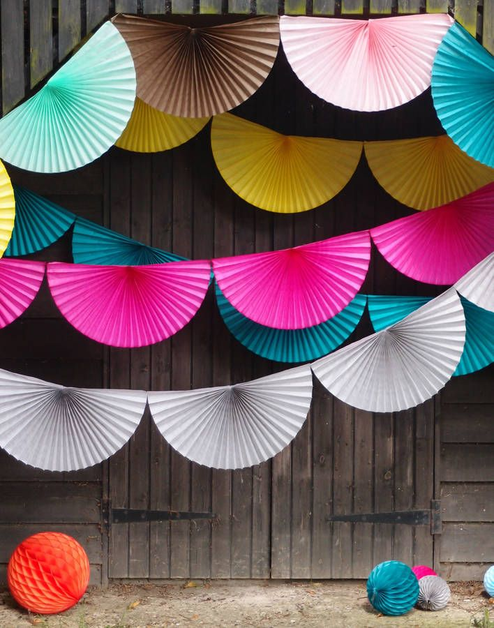 Paper Fan Bunting Garland dimensions:  Overall length of garland 3.35 metres. Each fan is 56cm wide and 28cm high at the centre  petra boase
