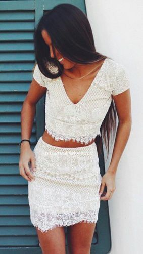 two piece white lace, good for a beachy pre-wedding dinner, or a great bachelorette party dress!