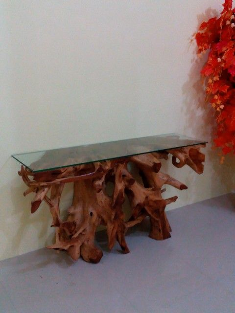 Teak root consol table