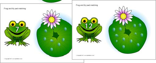 Frog and lily matching activity 0-20 (SB318) - SparkleBox