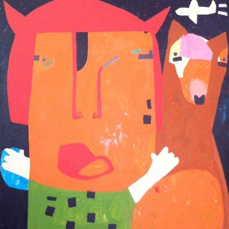Helen Oprey Let's Run Away - 2014 Mixed media on canvas 100 x 100 cm  Enquiries: info@19karen.com.au