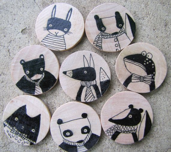 Set of Eight Hand Drawn Whimsical Animal Magnets, Original Art by Andrea Doss