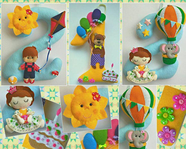 9.5 inch Felt Birthday Number Three Designs by VikaCreations