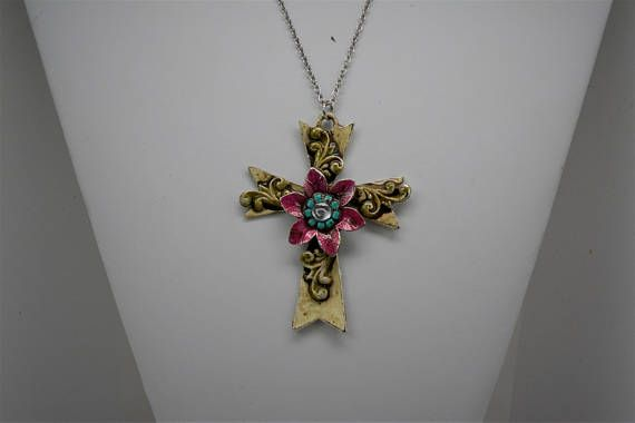 Chunky Cross Pendant Hand Painted Cross Pendant Pale Yellow
