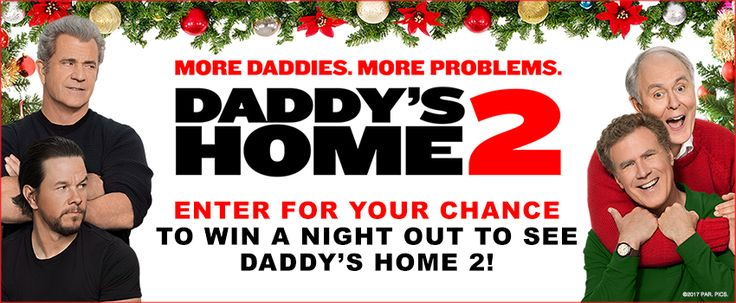 """Landmark Cinemas Canada """"Daddy's Home 2 Contest.  Daddy's Home 2 Enter NOW to WIN a Trip to the Movies to See Daddy's Home 2 - On Us   1 $50 Landmark Cinemas Gift Cards 1 $50 Prepaid Credit Card - For Dinner Perhaps :)  1 $50 Gas Card  There are also 5 secondary prize pack to be won including:  A Daddy's Home 2 Sweater A Daddy's Home 2 Beanie  A Daddy's Home Tee"""