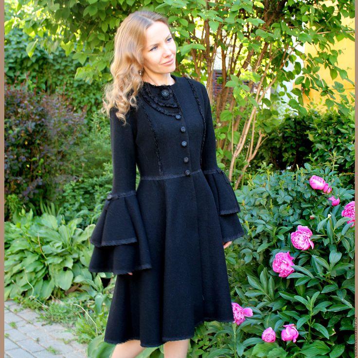 Купить Пальто трапеция черное с кружевом - черный, однотонный, стильное пальто, необычное пальто, пончо