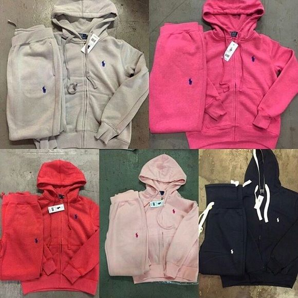 Polo sweatsuits available for women with elastic bottoms. True to size. Authentic. $80 per sweatsuit. $7.80 shipping fee. Click on link in bio. Price negotiable. Ships 3-5 business days.