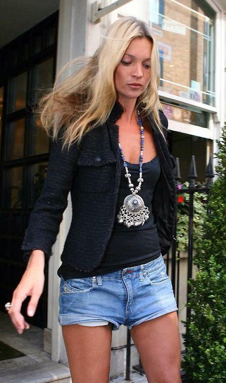 black + denim #cutoffs. Kate Moss