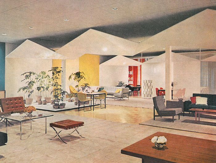 Project: Knoll showroom in Dallas, Texas, 1956 | Interior Design: Knoll Planning Unit/Florence Knoll | Product: Ludwig Mies van der Rohe's Barcelona® Table, Chair and Ottoman, Harry Bertoia's Side Chair, Florence Knoll's Parallel Bar Series Sofa and Eero Saarinen's Executive Armchair | Knoll Inspiration