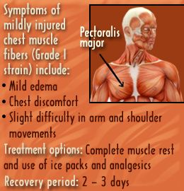 Symptoms of pulled chest muscle