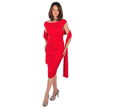 Brian Bailey Mary Davis Fully Ruched Dress with Shawl - RED