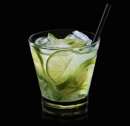 Alex Atala Caipirinha -1 lime, 2/3 ounce (20 ml) Sugar Syrup (below), 7 ice cubes, 2 ounces (60 ml) cachaça