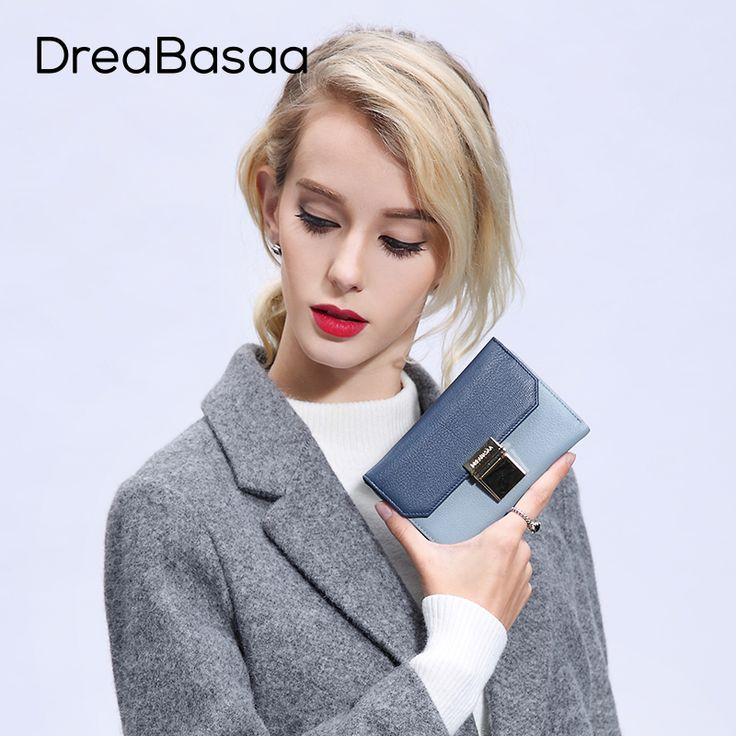 Dreabasaa Genuine Leather Wallets Designer Wallets Famous Brand Women Wallet 2016 Ladies Portefeuille Femme Purse Short #wallet #womenwallet #womanpurse