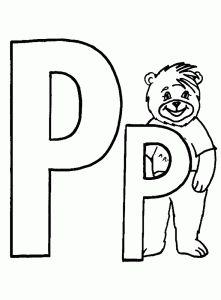 letter p coloring pages letter p bear