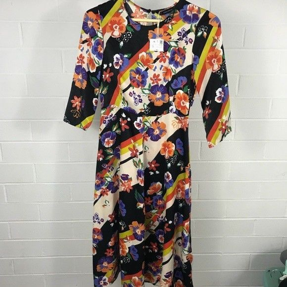 7b078e6c37 NWT Women s Zara Trafaluc Collection Retro Floral Dress Small Fall ...