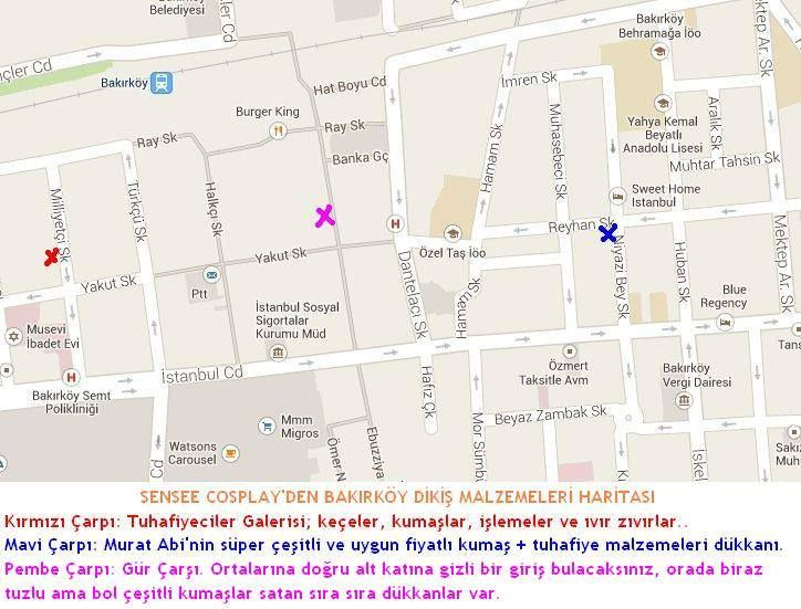 Map for sewing materials at Bakirkoy ISTANBUL