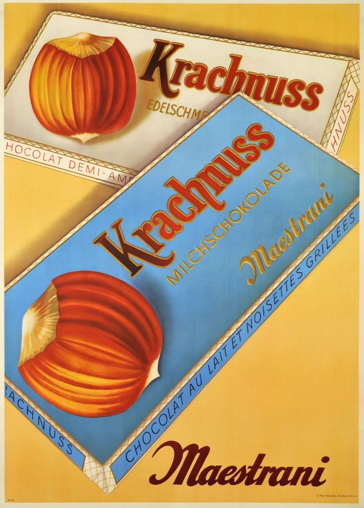 Krachnuss Milchschokolade Maestrani. Paul BENDER (1950 circa)