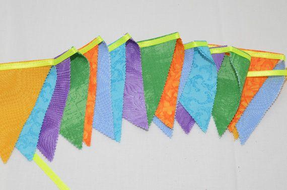 Bunting Rainbow banner Party 17 flags Garland by Elefanteblanco, $22.99