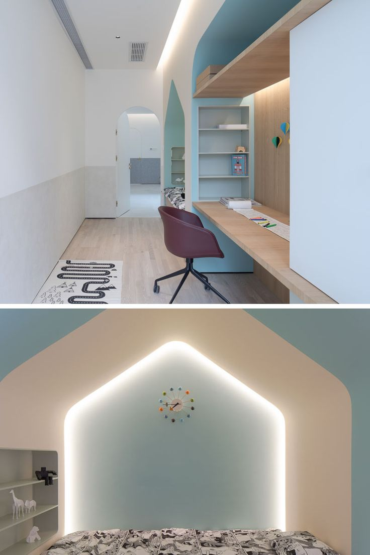 In this modern child's bedroom with a built-in bed, desk and storage. Hidden lighting and soft colors create a calm environment for the room. #KidsBedroom #BedroomDesign #BuiltInBed #HomeworkStation