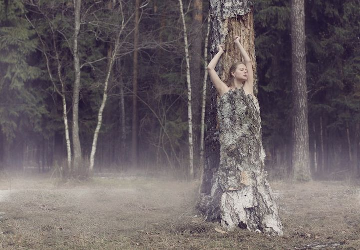 Moscow-based photographer Katerina Plotnikova creates a haunting atmosphere in nature that draws inspiration from fairy tales. Her portfolio of work features enchanting young women lifted by spirits, floating in skies, and entangled in the branches of trees.