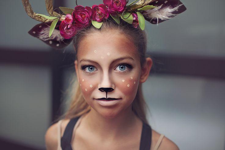 deer make up tutorial and antlers tutorial for deer costume #deermakeup