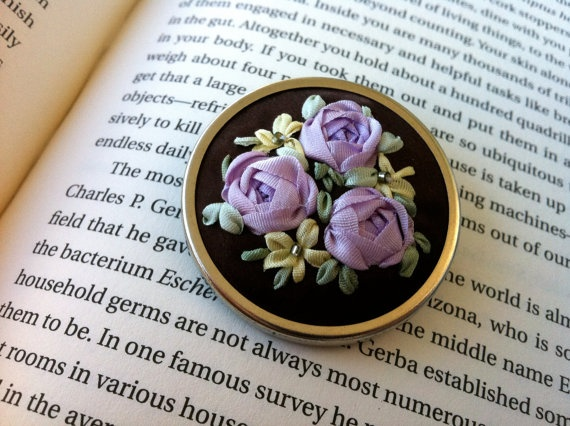 Lavender, Yellow and Brown Embroidered Rose Jewelry - Silk Ribbon Embroidery by BeanTown Embroidery