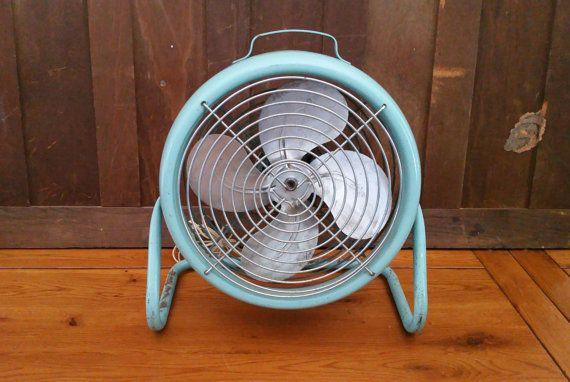 Vintage Working Industrial Robins Egg Blue General Electric Shop Fan