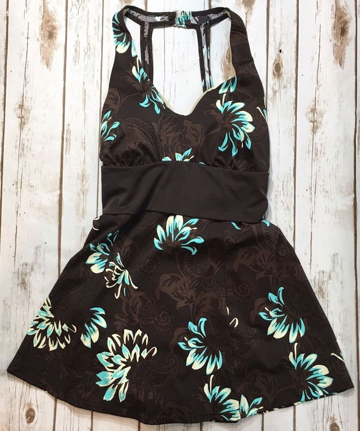 Swim 365 Womens Plus Size 16W One Piece Skirted Swimsuit Brown Floral Paisley  | eBay