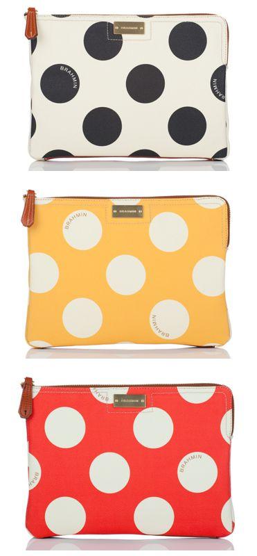 Wallets - Polka Dots - White & Black, Orange & White, Yellow & White.