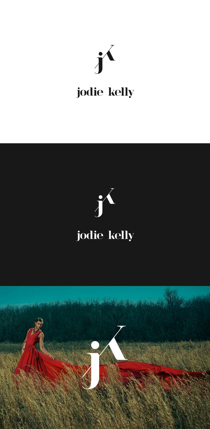 "Logo design for Jodie Kelly Photography, a photography studio with fashion forward approach targeting high school juniors and seniors. Letters ""J"" and ""K"" form a luxurious mark. Designed by LET'S PANDA, Vancouver. #logo #photography #branding #letspanda"