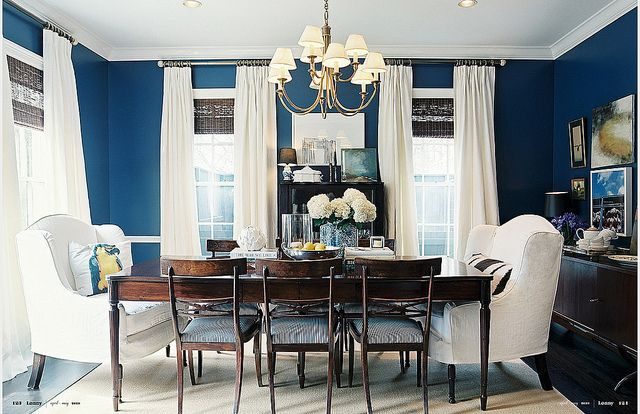 Navy + white dining room: 'Champion Colbalt' by Benjamin Moore