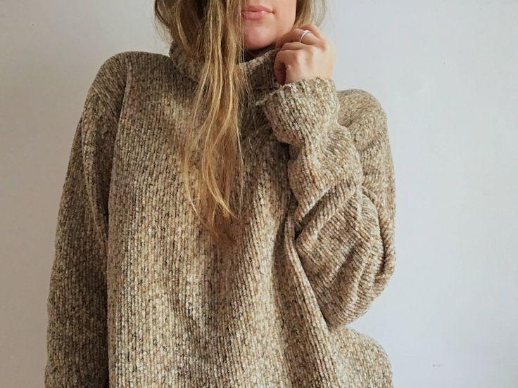 Vintage Cozy 90's Chenille Roll Neck // Slouchy Knit Turtleneck Sweater // Size M http://etsy.me/2zm7t6Z #clothing #women #jumper #m #sweater #rollneck #turtleneck #chenille #boxy