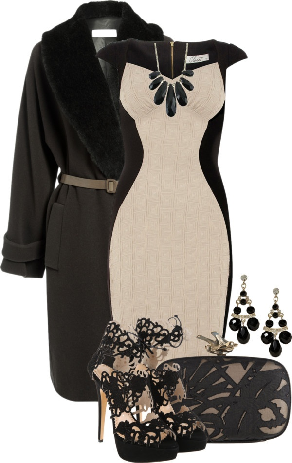 Nude colors combined with black always classic. This dress will make any women look slimming #fashion #women