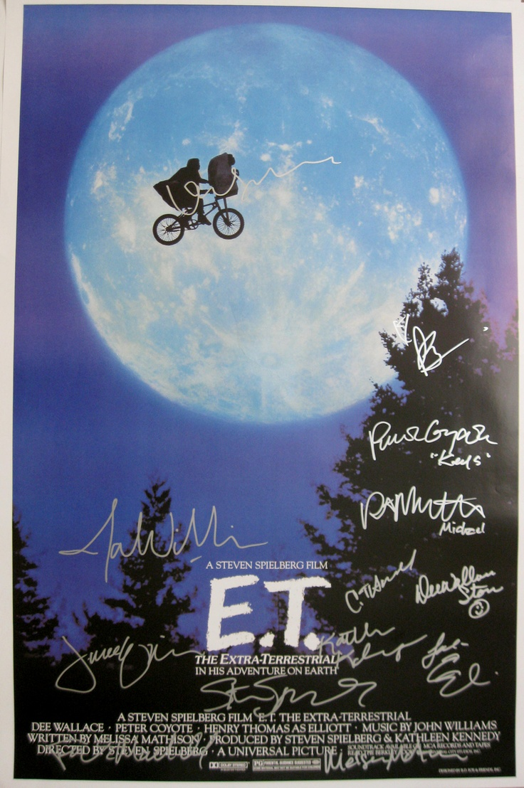 E.T. the Extra-Terrestrial (1982) 27x40 movie poster signed by Henry Thomas, Drew Barrymore, Dee Wallace Stone, Robert MacNaughton, Peter Coyote, C. Thomas Howell, Erika Eleniak, producer Frank Marshall, designer Ralph McQuarrie, partial ET voices Debra Winger, composer John Williams & director Steven Spielberg.