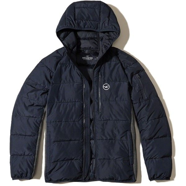 Hollister Neoprene Puffer Jacket ($98) ❤ liked on Polyvore featuring men's fashion, men's clothing, men's outerwear, men's jackets, navy, mens faux leather jacket, mens hooded jackets, men's neoprene jacket and mens faux leather hooded jacket