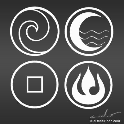 Nopash's Blog: Avatar: the last Airbender Air, Water, Earth, and Fire nations symbol decals