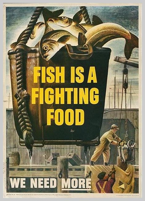 American poster: Fish is a Fighting Food.