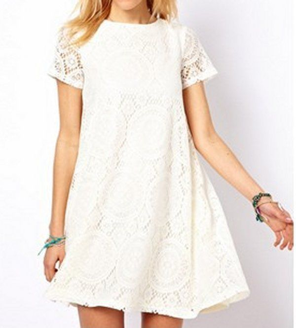 Women loose fit lace white dress mini skirt party trendy chic fashion summer #unbranded