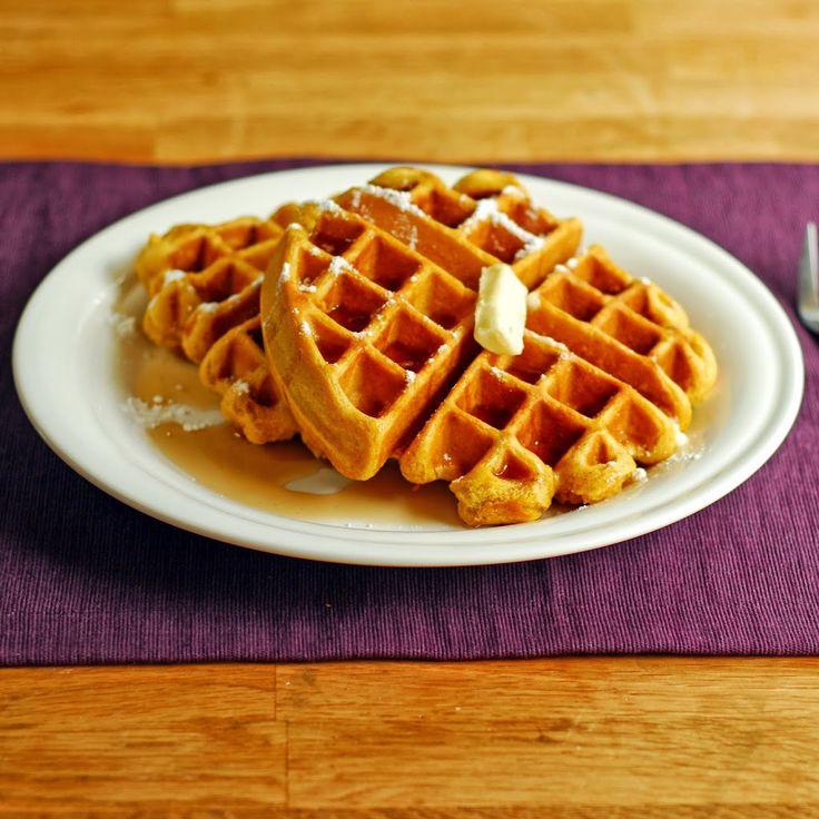 Easy Pumpkin Waffles- I modified and added the suggested egg on the box for the amount of waffle mix (used Krusteaz belgium waffle mix) SOOO YUMMY!
