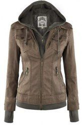 Trendy Hooded Long Sleeve Faux Twinset Pocket Design Jacket For Women (KHAKI,XL)   Sammydress.com Mobile