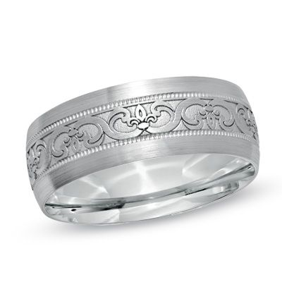Or dis one?          Men's 8.0mm Celtic Wedding Band in 14K White Gold  - Peoples Jewellers