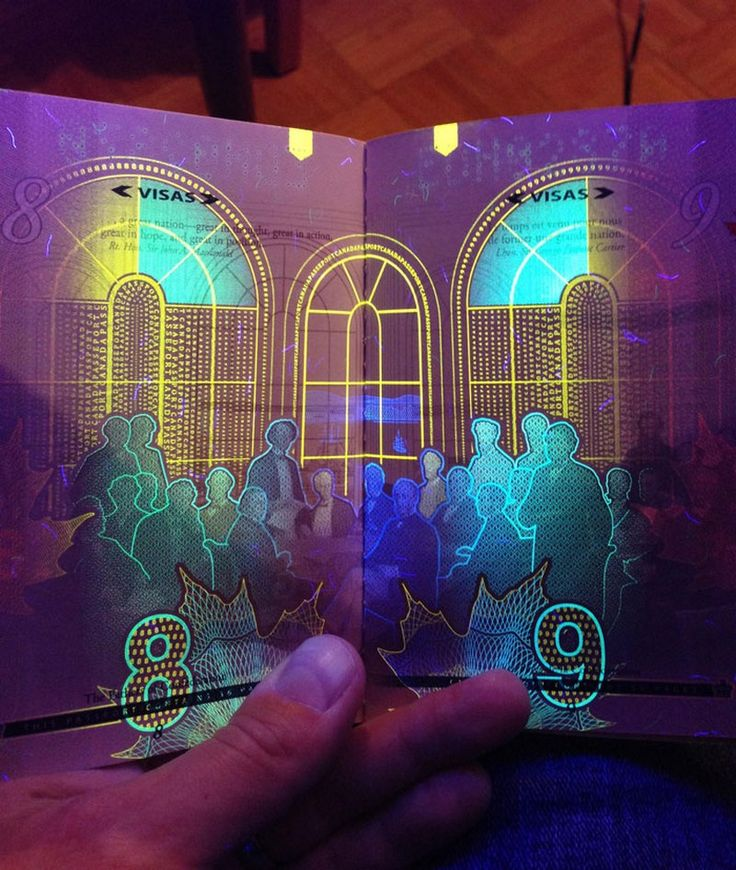 For those interested in design and its infinite possibilities, have a look at these Canadian passports and their surprising security feature! Canada's newest passport designs may look common at a first glance ( with the information and photo area, along with the typical numbered pages), but if you place one under UV lighting, everything changes. Security additions that are revealed by black light are common, but this is something special and you have probably already understood why.