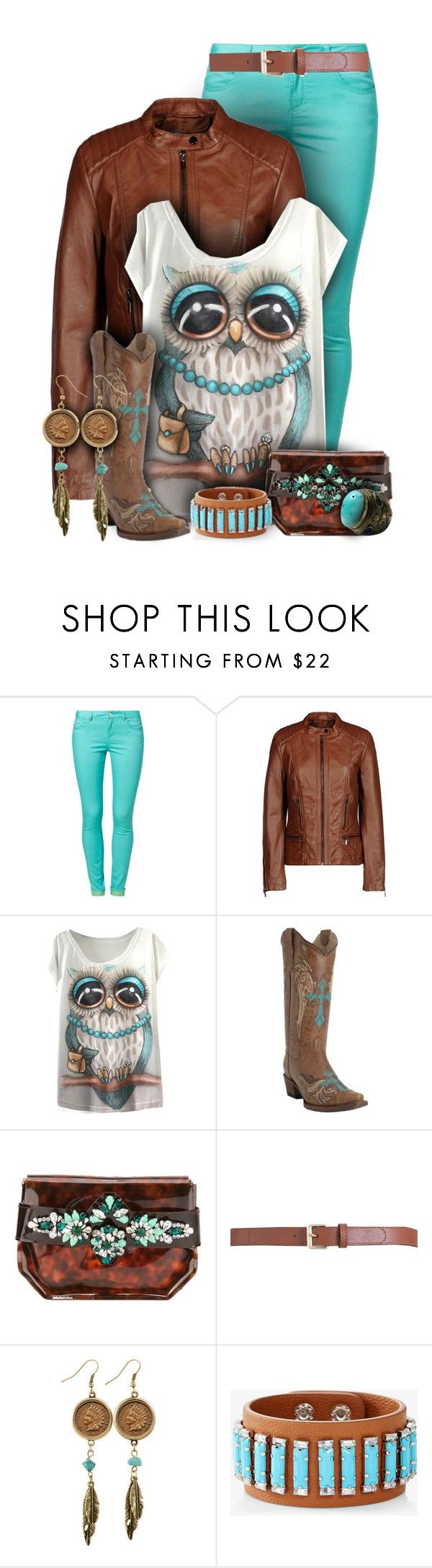 """""""Turquoise and Brown Owl Shirt Fashion"""" by rainbowroad96 ❤ liked on Polyvore featuring even&odd, ESPRIT, Circle G, Shourouk, Maison Boinet, American Coin Treasures and Express"""