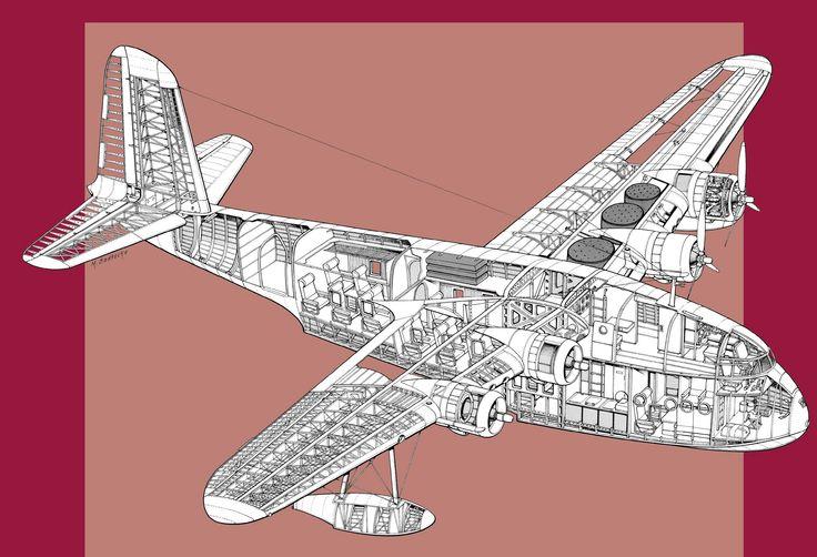 Short S23  U0026 39 Empire U0026 39  Flying Boat Cutaway