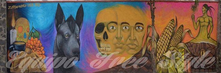 freestyle graffiti dead  day dog xoloitzcuintle estilo libre grafiti mural dia de muertos perro  xoloitzcuintle